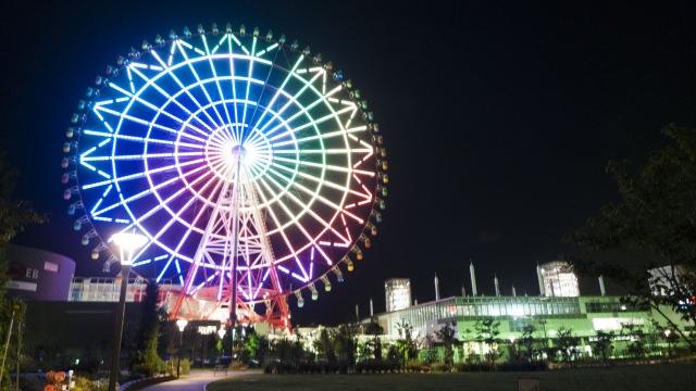 3. จุดชมวิวสวยงามยามค่ำคืนของโตเกียว Pallete Town Ferris Wheel